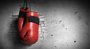 Boxing gloves. Pair of red boxing gloves hanging on wall Royalty Free Stock Photos