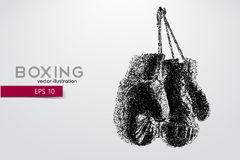 Boxing gloves from particles. Background and text on a separate layer, color can be changed in one click. Boxer. Boxing. Boxer silhouette stock illustration