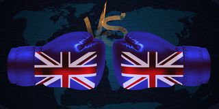 Boxing gloves with print of national flags of United Kingdom is. Boxing gloves with print of national flags of United Kingdom on abstract world map background vector illustration