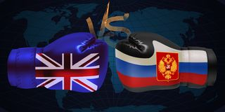 Boxing gloves with print of national flags of United Kingdom an. D Russia on abstract world map background vector illustration