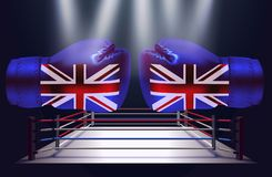 Boxing gloves with print of national flags of United Kingdom. On boxing ring background vector illustration