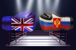 Boxing gloves with print of national flags of United Kingdom an. D Russia isolated on abstract world map background royalty free illustration