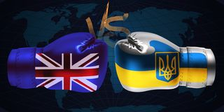 Boxing gloves with print of national flags of United Kingdom an royalty free stock images