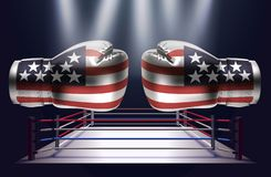 Boxing gloves with print of national flags of USA. On boxing ring background stock illustration