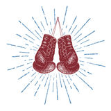 Boxing gloves. Prints design for t-shirts.Hand drawn style stock illustration
