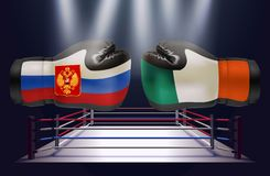Boxing gloves with prints of Irish and Russian flags facing each. Other on a boxing ring background, vector illustration stock illustration