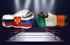 Boxing gloves with prints of Irish and Russian flags facing each. Other on a boxing ring background, vector illustration royalty free illustration