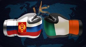 Boxing gloves with prints of Irish and Russian flags facing each. Other on a boxing ring background, illustration vector illustration