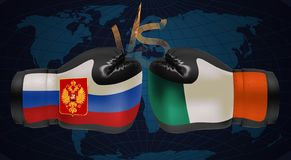 Boxing gloves with prints of Irish and Russian flags facing each. Other on a boxing ring background, illustration stock illustration