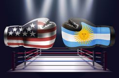 Boxing gloves with prints of the USA and Argentinian flags facin. G each other on a ring lit by spotlights, realistic illustration design royalty free illustration