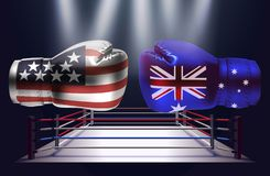 Boxing gloves with prints of the USA and Australian flags facing. Each other on a ring lit by spotlights, realistic illustration design royalty free illustration