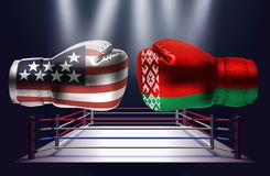 Boxing gloves with prints of the USA and Belorussian flags facin. G each other on a ring lit by spotlights, realistic illustration design royalty free illustration