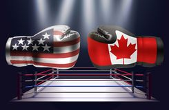 Boxing gloves with prints of the USA and Canadian flags facing e. Ach other on a ring lit by spotlights, realistic illustration design vector illustration