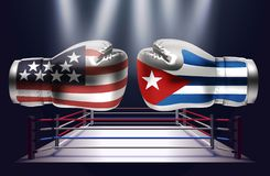 Boxing gloves with prints of the USA and Cuba flags facing each. Other on a ring lit by spotlights, realistic illustration design stock illustration