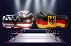 Boxing gloves with prints of the USA and German flags facing ea. Ch other on a ring lit by spotlights, realistic illustration design vector illustration