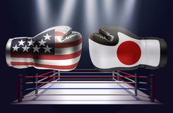 Boxing gloves with prints of the USA and Japanese flags facing e. Ach other on a ring lit by spotlights, realistic illustration design vector illustration