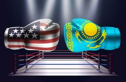 Boxing gloves with prints of the USA and Kazakhstan flags facing. Each other on a ring lit by spotlights, realistic illustration design vector illustration