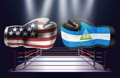 Boxing gloves with prints of the USA and Nicaraguan flags facing. Each other on a ring lit by spotlights, realistic illustration design royalty free illustration
