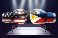 Boxing gloves with prints of USA and Philippines flags facing ea. Ch other on a ring lit by spotlights, realistic illustration design royalty free illustration