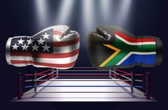 Boxing gloves with prints of the USA and South African flags fac. Ing each other on a ring lit by spotlights, realistic illustration design vector illustration