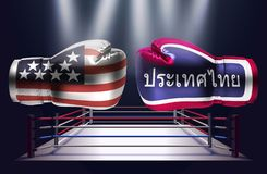 Boxing gloves with prints of the USA and Thai flags facing each. Other on a ring lit by spotlights, realistic illustration design stock illustration