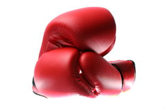 Boxing Gloves red. Two red boxing gloves on a white background Stock Image