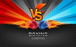 Boxing gloves Red and Blue in fire hitting together isolated on. Red and blue fighting background, vector illustration Stock Image