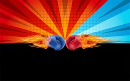 Boxing gloves Red and Blue in fire hitting together isolated on. Red and blue fighting background, vector illustration Royalty Free Stock Photos