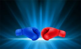 Boxing gloves Red and Blue hitting together on abstract smooth l. Ight blue perspective background. Vector illustration royalty free illustration