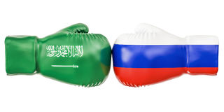 Boxing gloves with Russia and Saudi Arabia flags. Governments co. Nflict concept, 3D Royalty Free Stock Images