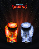 Boxing gloves  Russian traditional ornament from flowers, Gzhel. Stock Photo