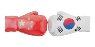 Boxing gloves with South Korea and China flags. Governments conf. Lict concept, 3D Stock Photo