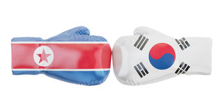 Boxing gloves with South Korea and North Korea flags. Government. S conflict concept Royalty Free Stock Photography