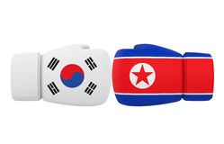 Boxing Gloves with South Korea and North Korea flags Stock Images