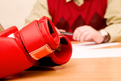 Boxing gloves on the table Royalty Free Stock Image