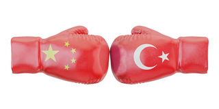 Boxing gloves with Turkey and China flags. Governments conflict. Concept, 3D Stock Photo