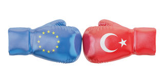 Boxing gloves with Turkey and EU flags. Governments conflict con. Cept, 3D Royalty Free Stock Photo