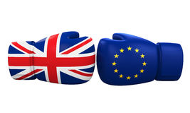 Boxing Gloves With UK and Euro Flag Stock Photos