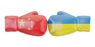 Boxing gloves with Ukraine and China flags. Governments conflict. Concept, 3D Stock Photos