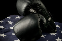 Boxing Gloves on the US Flag Stock Photo