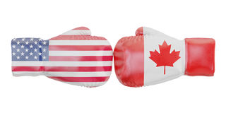 Boxing gloves with USA and Canada flags.. Concept, 3D rendering Stock Photo