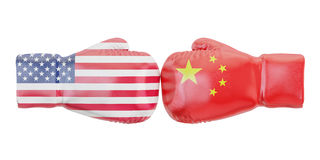 Boxing gloves with USA and China flags. Governments conflict. Concept, 3D Stock Image