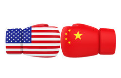Boxing Gloves with USA and China flags Royalty Free Stock Images