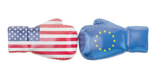 Boxing gloves with USA and EU flags. Governments conflict concep. T Royalty Free Stock Photography