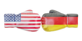 Boxing gloves with USA and Germany flags. Governments conflict c. Oncept Royalty Free Stock Image