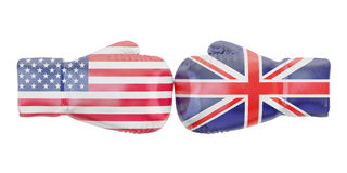 Boxing gloves with USA and Great Britain flags. Governments conf. Lict concept, 3D Royalty Free Stock Photo