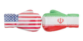 Boxing gloves with USA and Iran flags. Governments conflict conc. Ept Royalty Free Stock Images