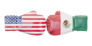 Boxing gloves with USA and Mexico flags. Governments conflict co. Ncept, 3D Stock Image