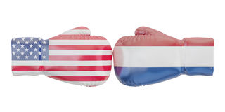Boxing gloves with USA and Netherlands flags. Governments confli. Ct concept Stock Photography