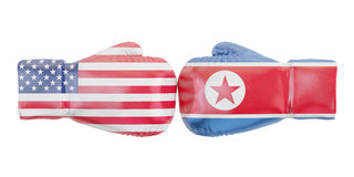 Boxing gloves with USA and North Korea flags. Governments confli. Ct concept, 3D rendering Stock Image